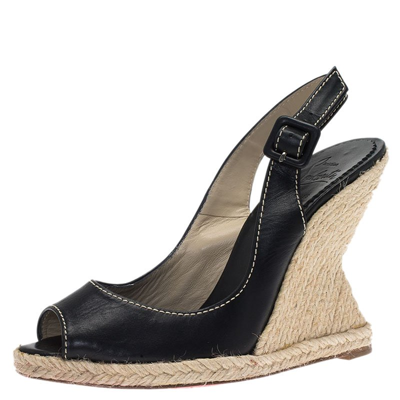 ca2917fac3e Christian Louboutin Black Leather You Love Slingback Espadrille Wedge  Sandals Size 37