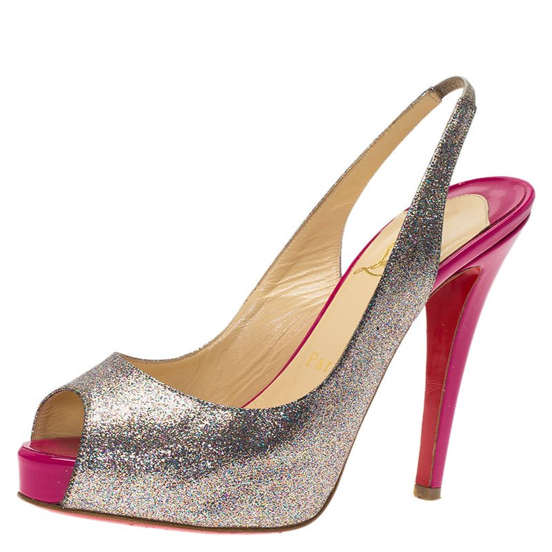 fc2825a0403f ... Christian Louboutin Silver Glitter N°Prive Peep Toe Slingback Sandals  Size 35.5. nextprev. prevnext