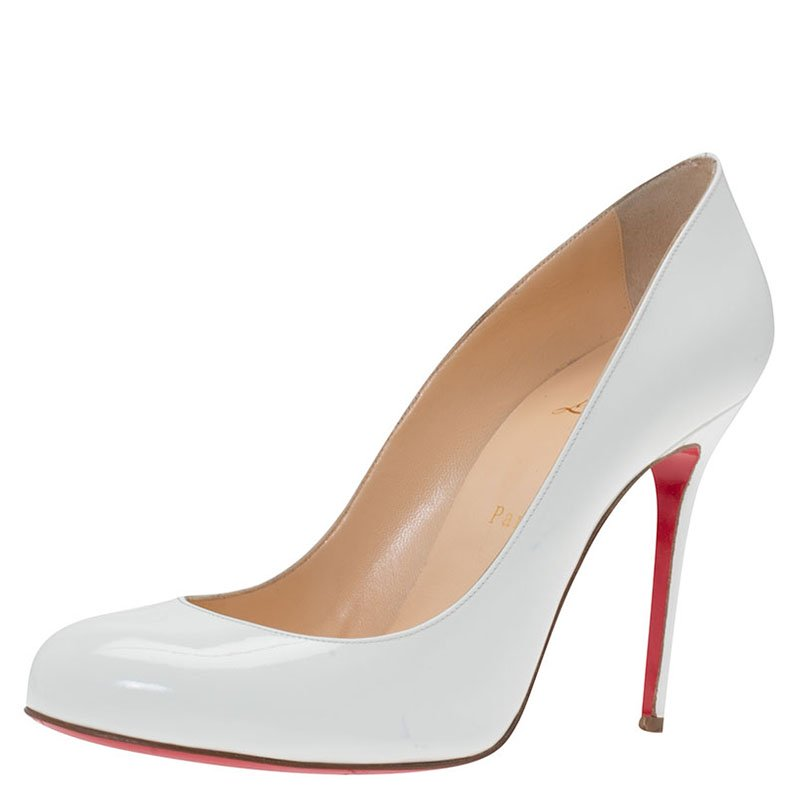 the best attitude 92f7e bc47a Christian Louboutin White Patent Fifi Pumps Size 39