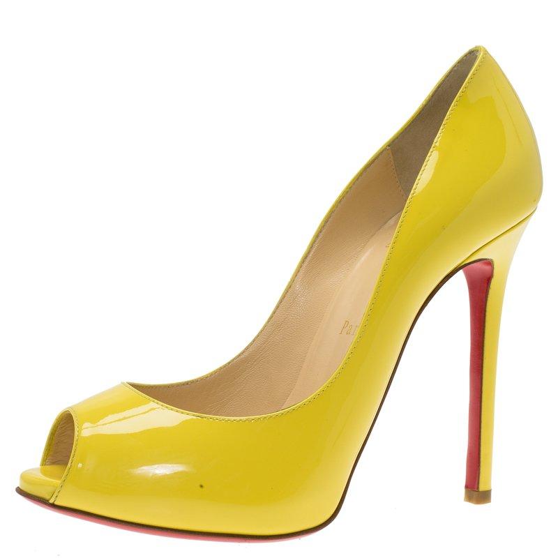 3d40586c693 Christian Louboutin Yellow Patent Flo Peep Toe Pumps Size 37.5