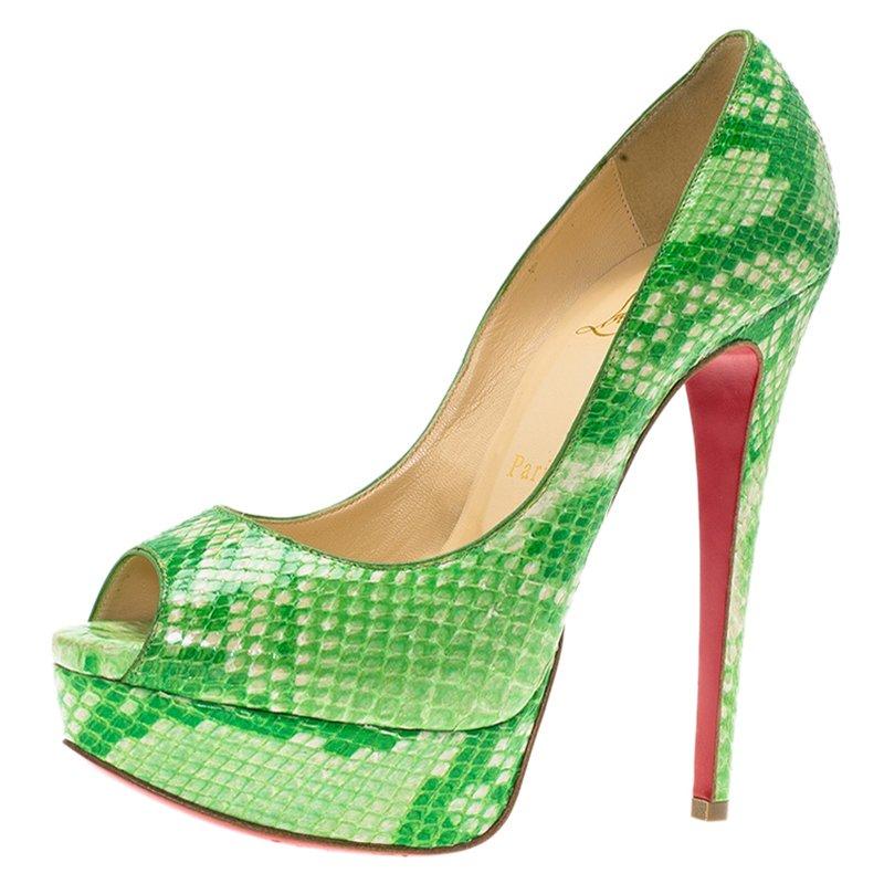 1ac2594d90d2 ... Christian Louboutin Green Python Lady Peep Toe Platform Pumps Size 36.  nextprev. prevnext