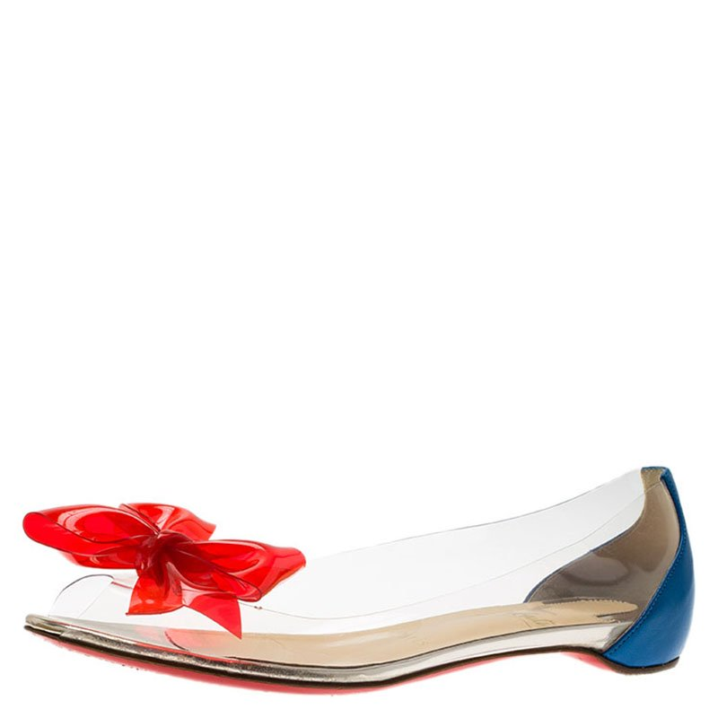 super popular e4b35 09dea Christian Louboutin Two Tone PVC and Leather Tip Bow Ballet Flats Size 37