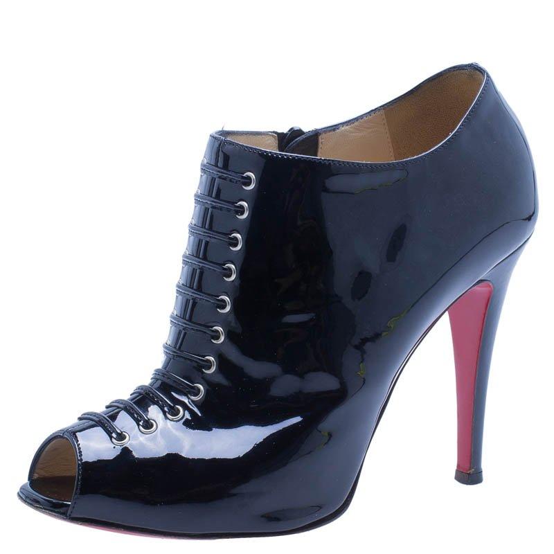 d7fcc89c344 Christian Louboutin Black Patent Christ Lace Up Peep Toe Ankle Boots Size 37