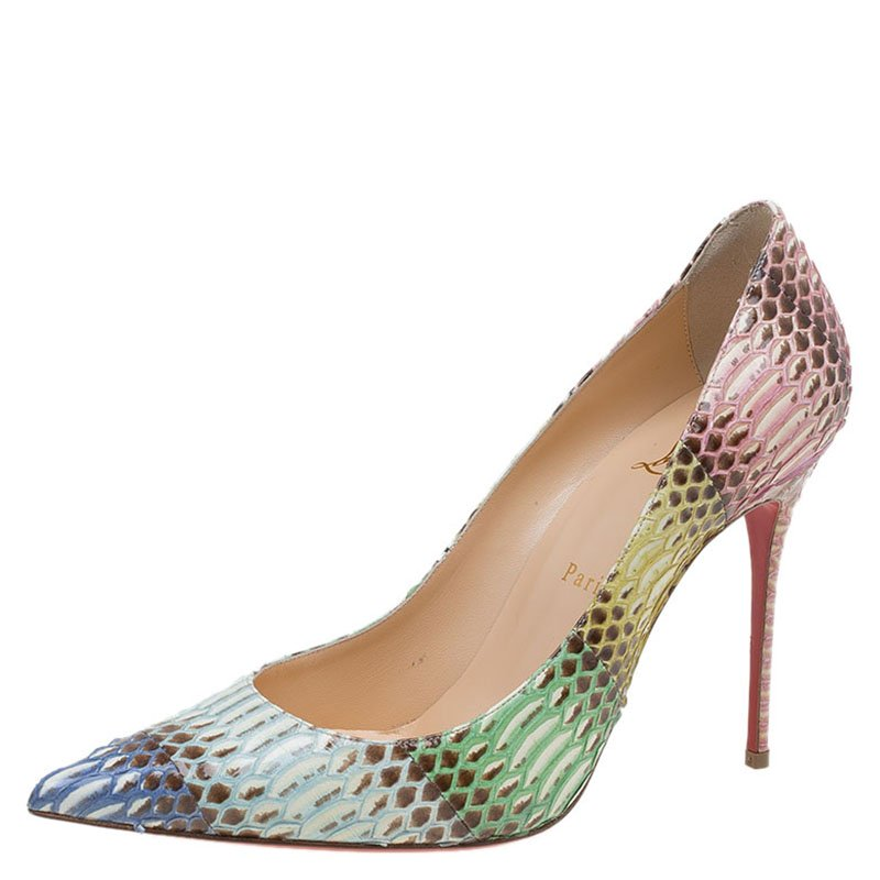 premium selection 95ab2 2e2da Christian Louboutin Multicolor Watersnake Pigalle Follies Degrade Pumps  Size 40
