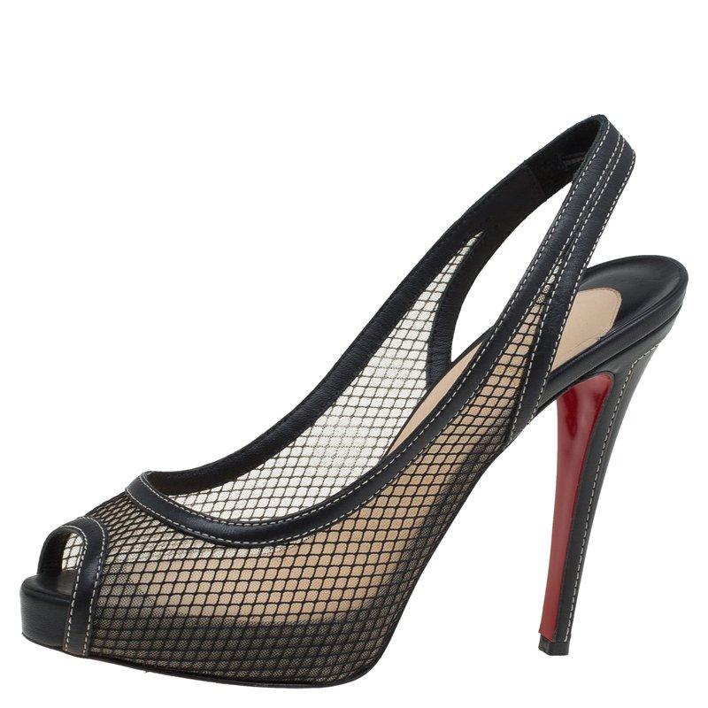 brand new 7a32f dddf3 Christian Louboutin Black Fishnet Canne A Peche Slingback Sandals Size 39.5
