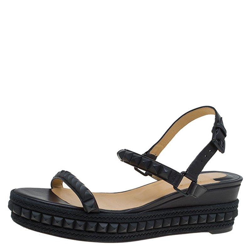 0db93df2746 Christian Louboutin Black Studded Leather Cataclou Espadrille Wedge Sandals  Size 40