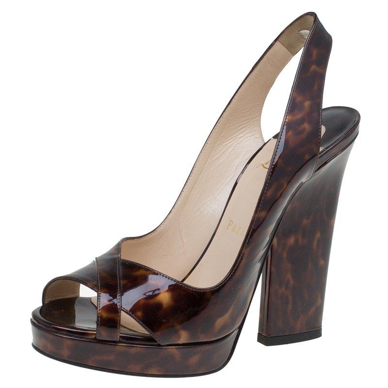 785b48535ed Christian Louboutin Tortoise Patent Marpoil Block Heel Slingback Sandals  Size 38.5