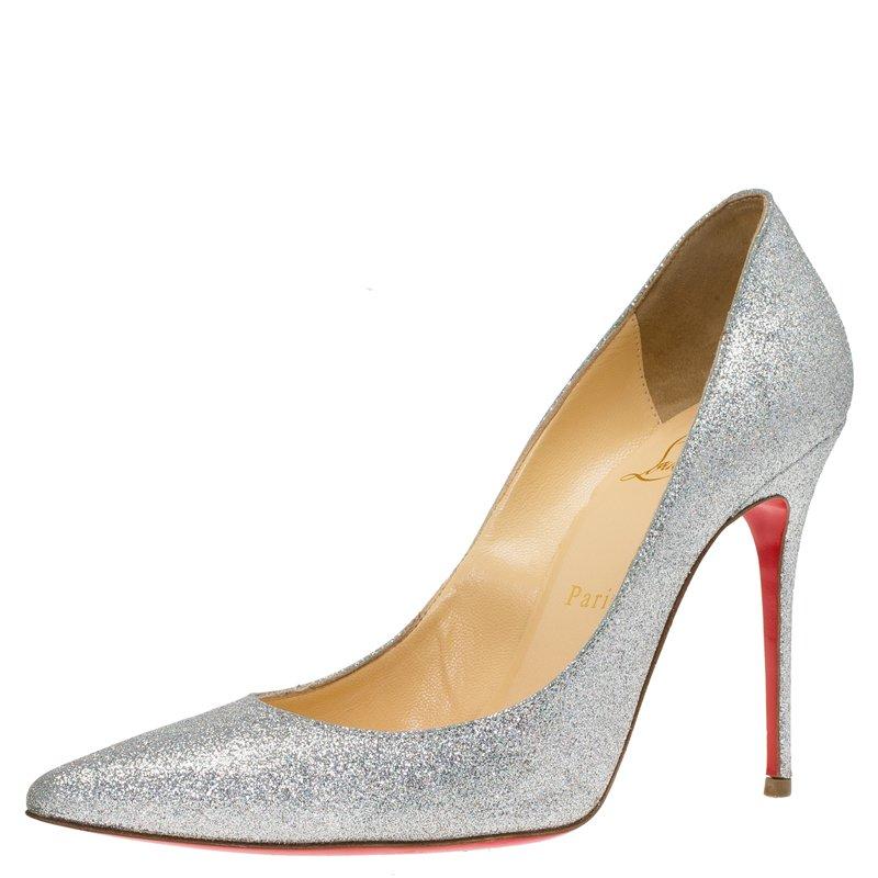 sale retailer 340c2 2d330 Christian Louboutin Silver Glitter Decollete 554 Pumps Size 38