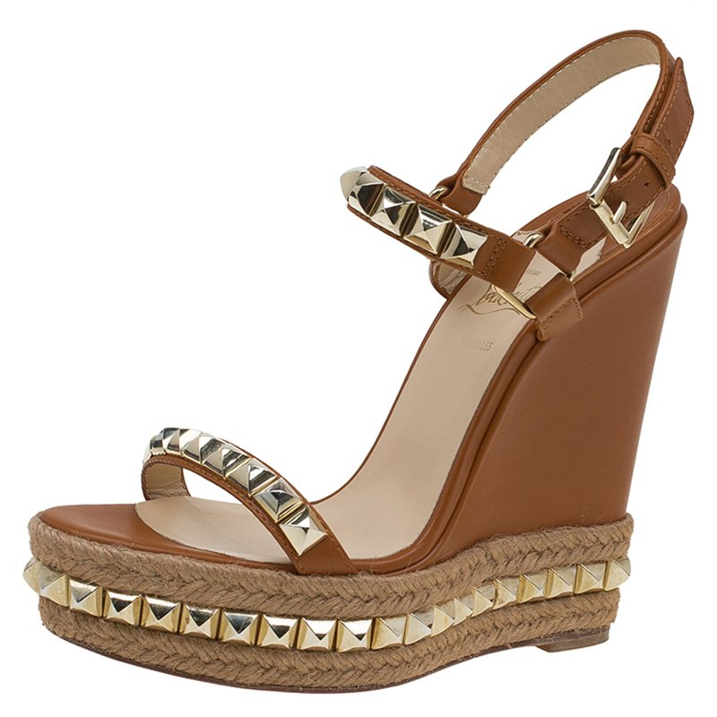 ... Christian Louboutin Brown Studded Leather Cataclou Espadrille Wedge  Sandals Size 38. nextprev. prevnext ab28ce66b
