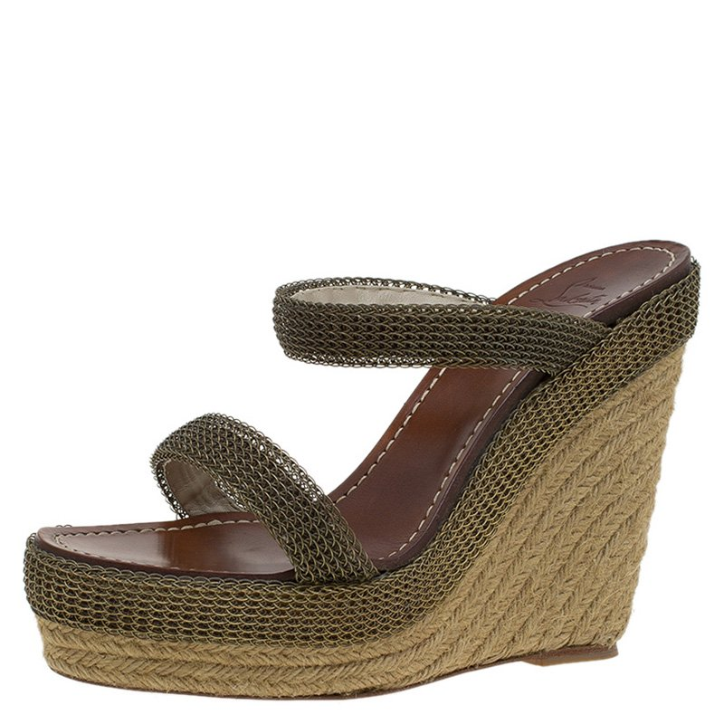 4c1e5bed0455 Buy Christian Louboutin Brown Espadrille Cadena Chainmaille Wedge ...