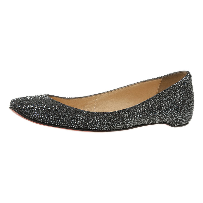 882e7fcfb39 Christian Louboutin Black Strass Leather Gozul Ballet Flats Size 39