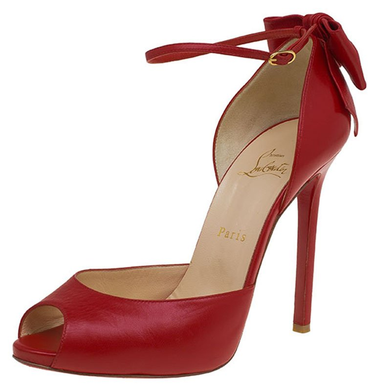 free shipping 3708a 745e7 Christian Louboutin Red Leather Noeud Bow Embellished Peep Toe Pumps Size 40