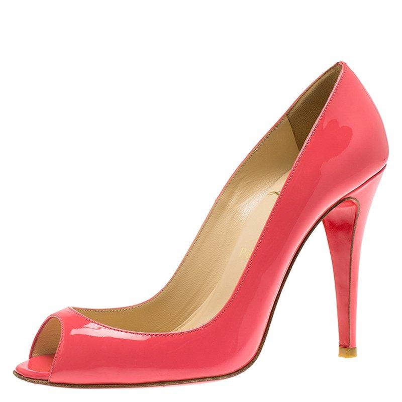 22eb0b5667da Buy Christian Louboutin Pink Patent  Sexy  Peep Toe Pumps Size 37 ...