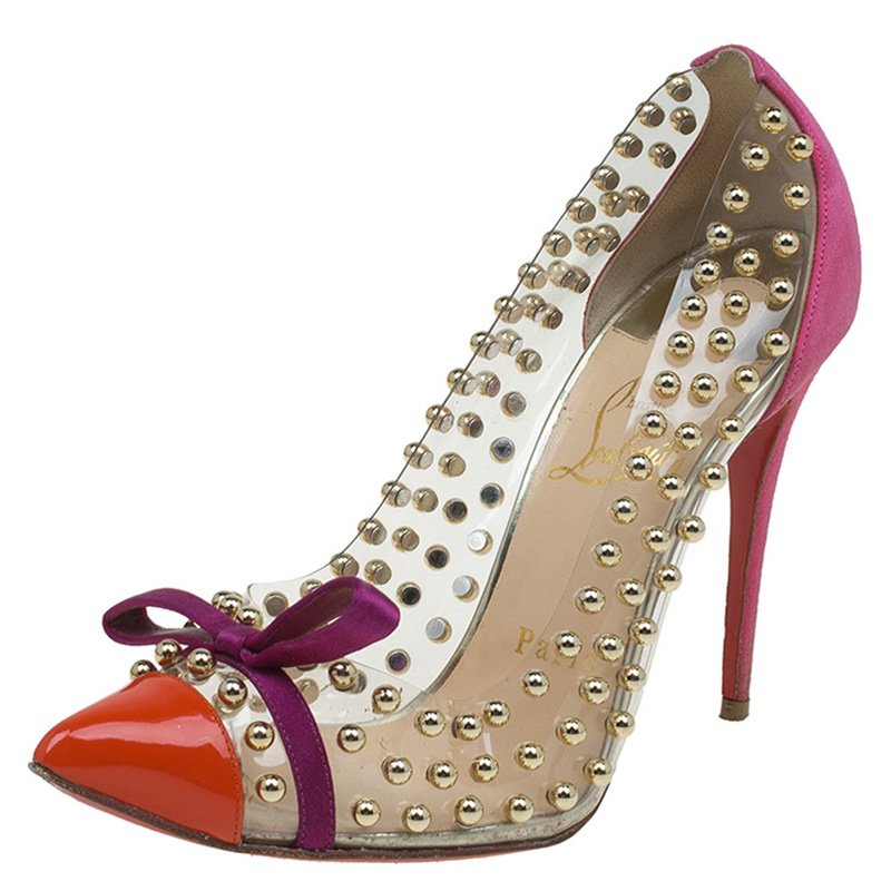 600df62ae801 ... Christian Louboutin Multicolor PVC Suede and Patent Studded Bille Et  Boule Pumps Size 37. nextprev. prevnext