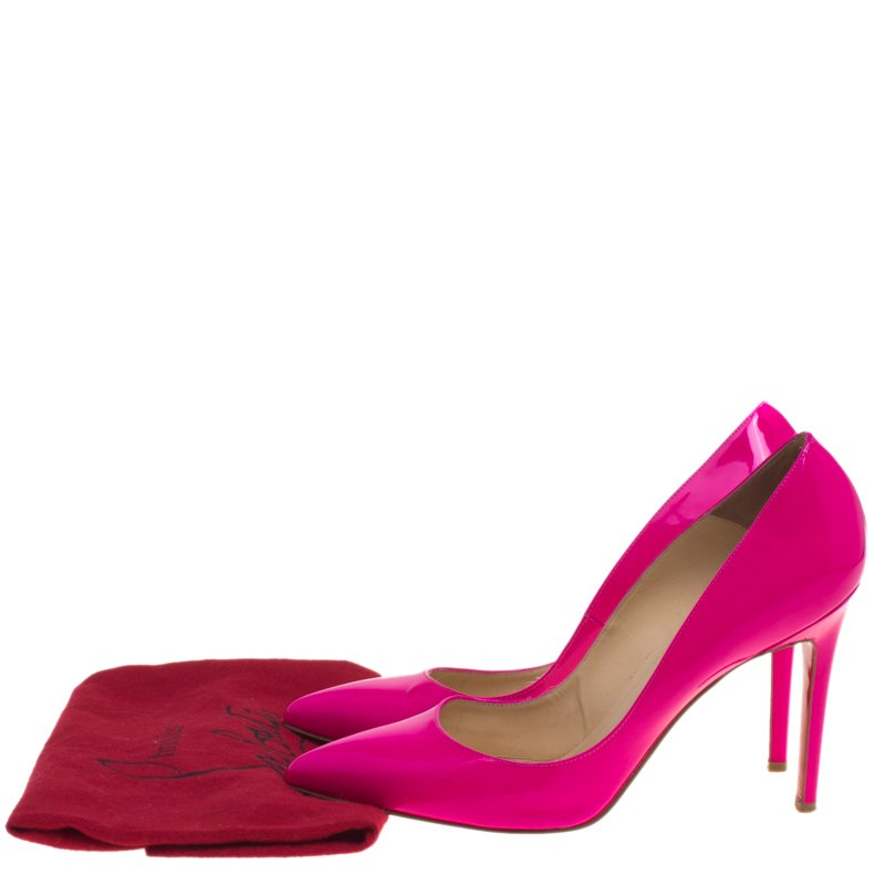 outlet store 632d6 29985 Christian Louboutin Fluorescent Pink Patent Leather So Kate Pumps Size 40.5