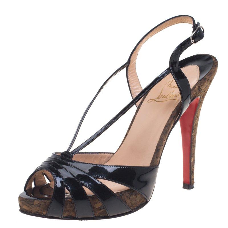 Christian Louboutin Black Patent Leather Activa Cork Sandals Size 38