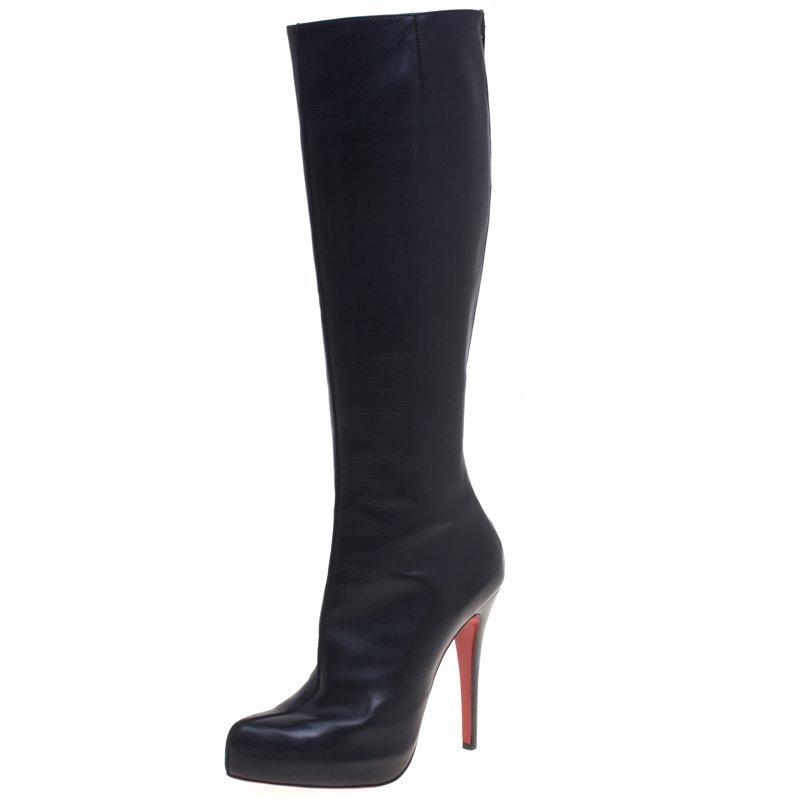 newest 6a262 0b696 Christian Louboutin Black Leather Botalili Knee Length Boots Size 38.5