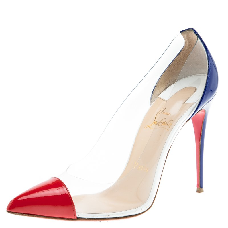 Buy Christian Louboutin Red and Blue PVC Debout Pointed Toe Pumps ... f795418f2d