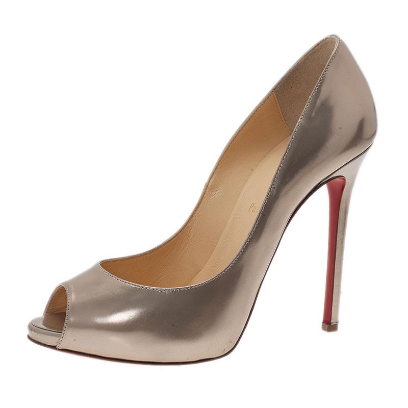 Christian Louboutin Gold Metallic Leather Flo Peep Toe Pumps Size 39