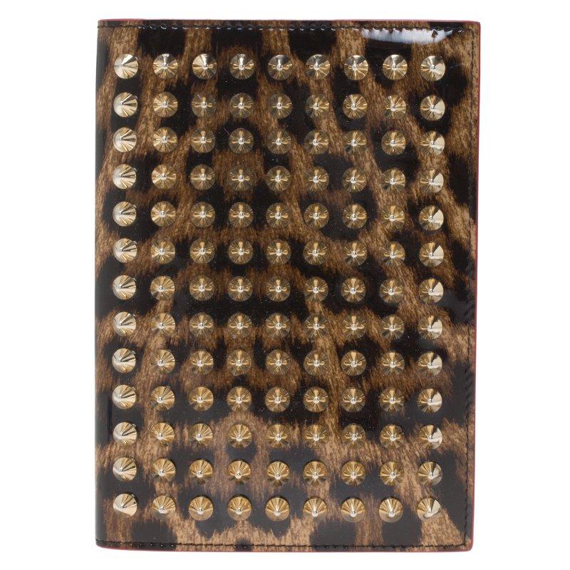 Christian Louboutin Brown Leopard Print Spike Loubipass Passport Cover