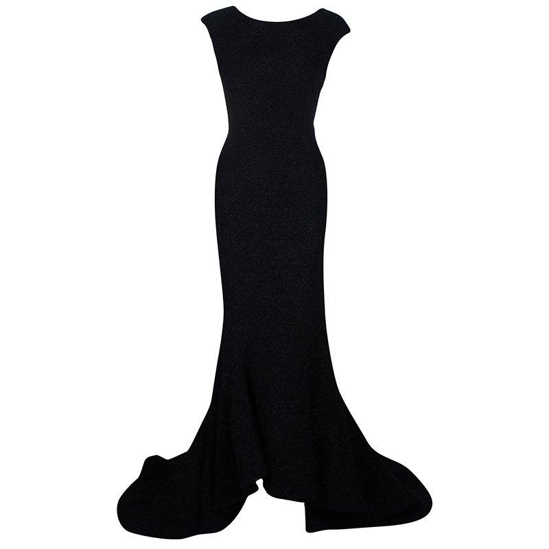 Christian Siriano Black Textured Gown M