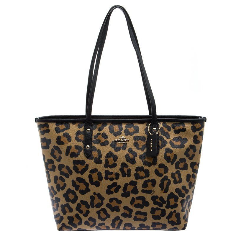 f9167c134 Buy Coach Leopard Print Coated Canvas City Zip Tote 99053 at best ...