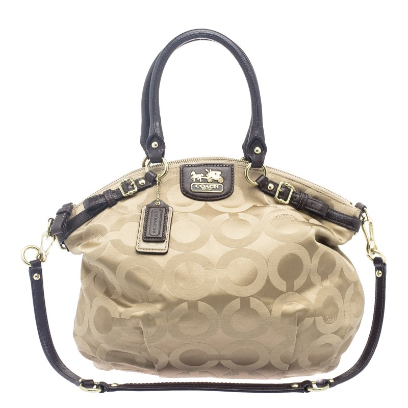Coach Beige Signature Fabric Lindsey Shoulder Bag