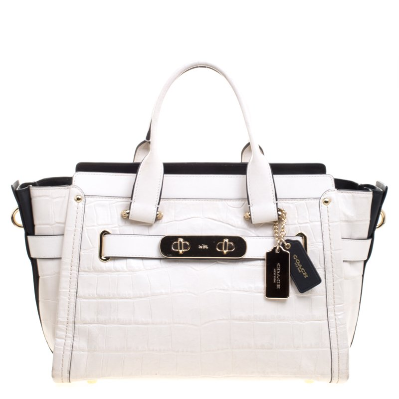 0aab510414152 Buy Coach Off White Croc Embossed Leather Large Swagger Top Handle ...