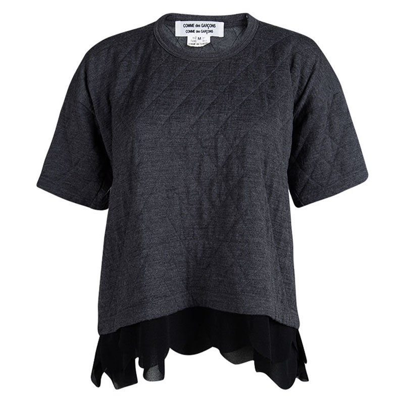 Comme des Garcons Grey Wool Quilted Scallop Hem Detail Top M