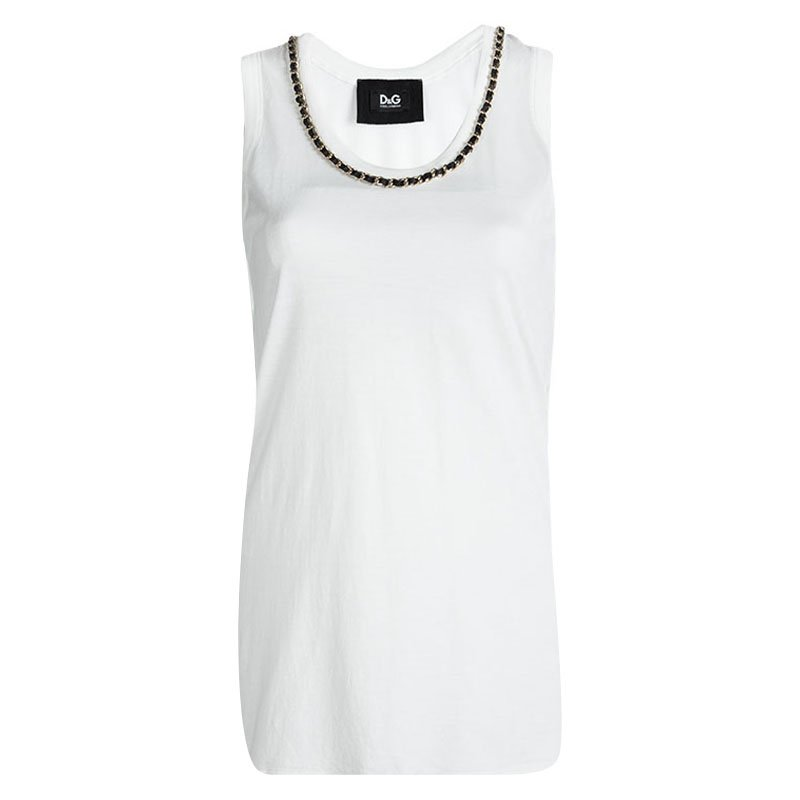 6f2cdc19ae88d ... D G White Cotton Chain Detailed Sleeveless Top M. nextprev. prevnext