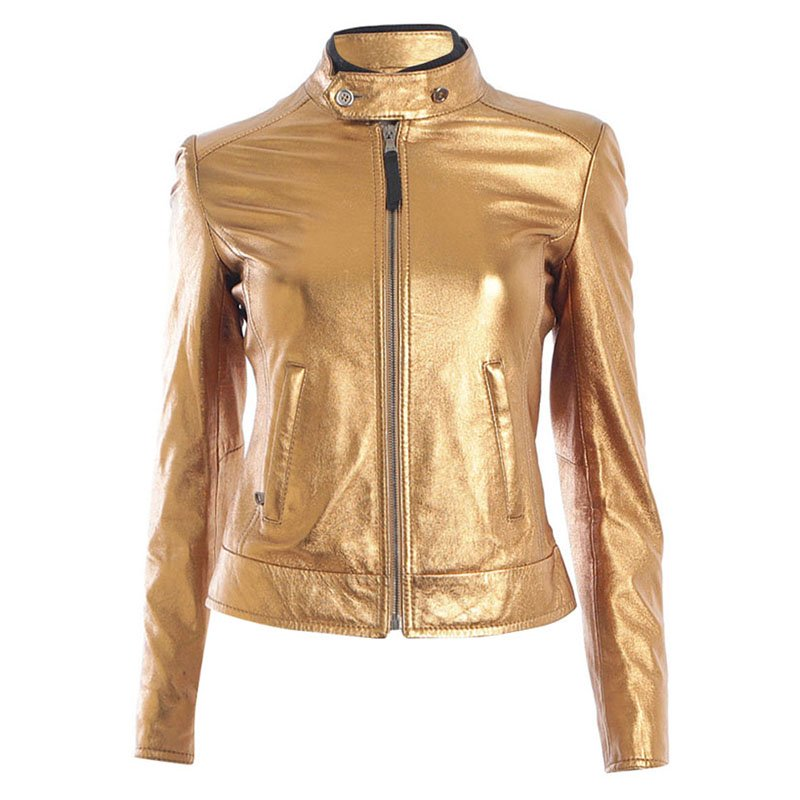 wide selection of colors big clearance sale sneakers for cheap D&G Metallic Gold Lambskin Leather Jacket XS