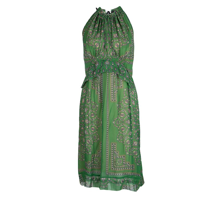 Derek Lam Green Printed Ruffle Detail Halter Dress S