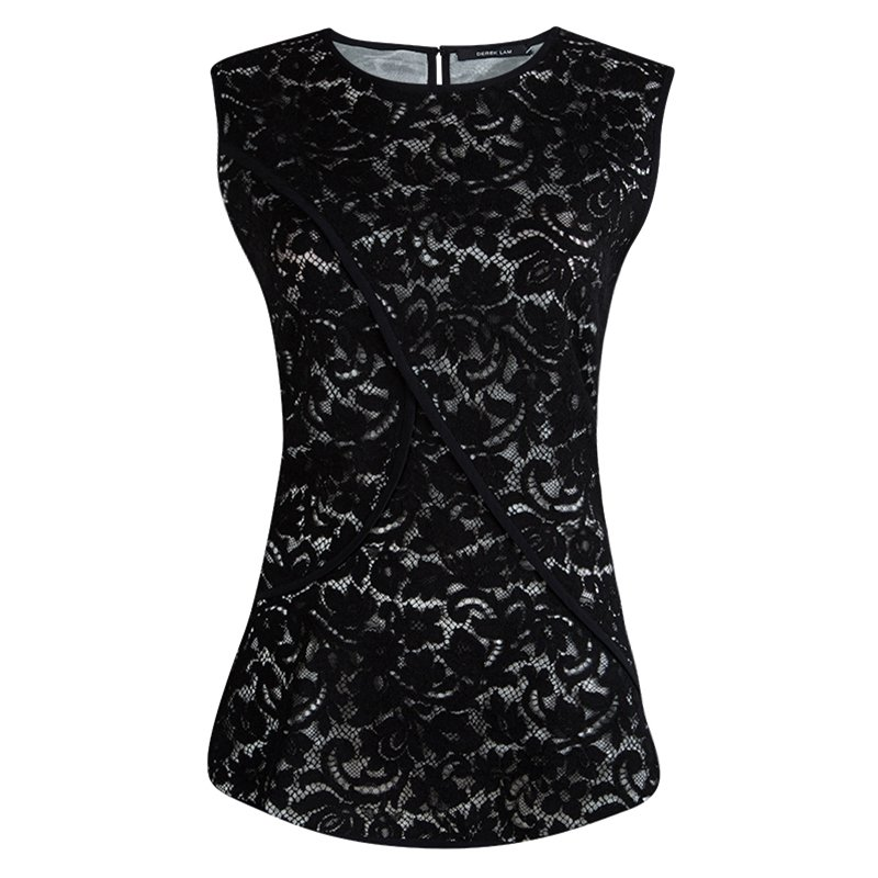 Derek Lam Black Lace Overlay Sleeveless Top L