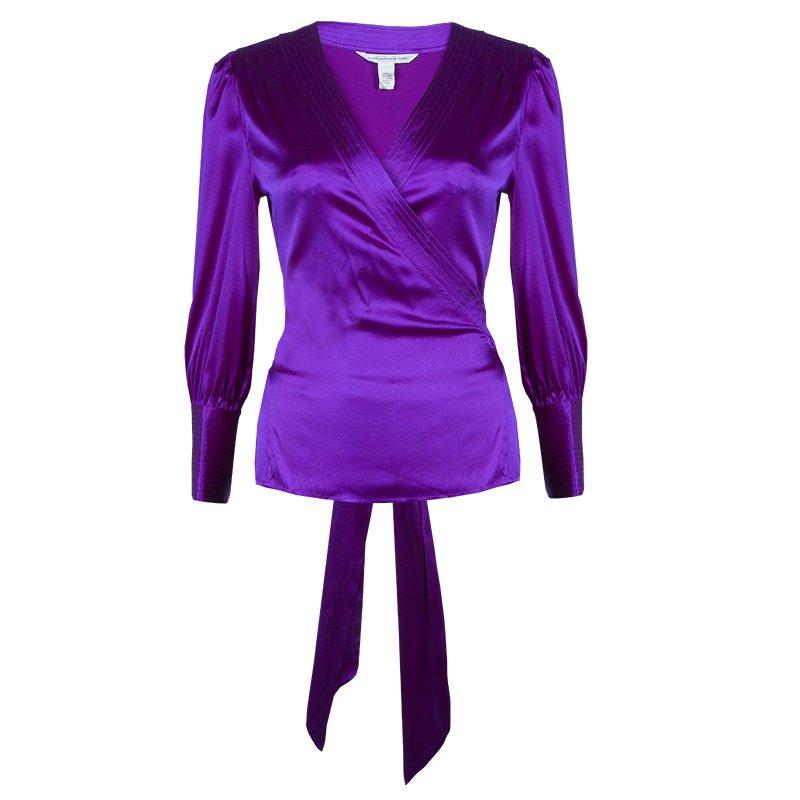 d65969837cd5 ... Diane Von Furstenberg Purple Silk Wraparound Long Sleeve Ariana Blouse  L. nextprev. prevnext
