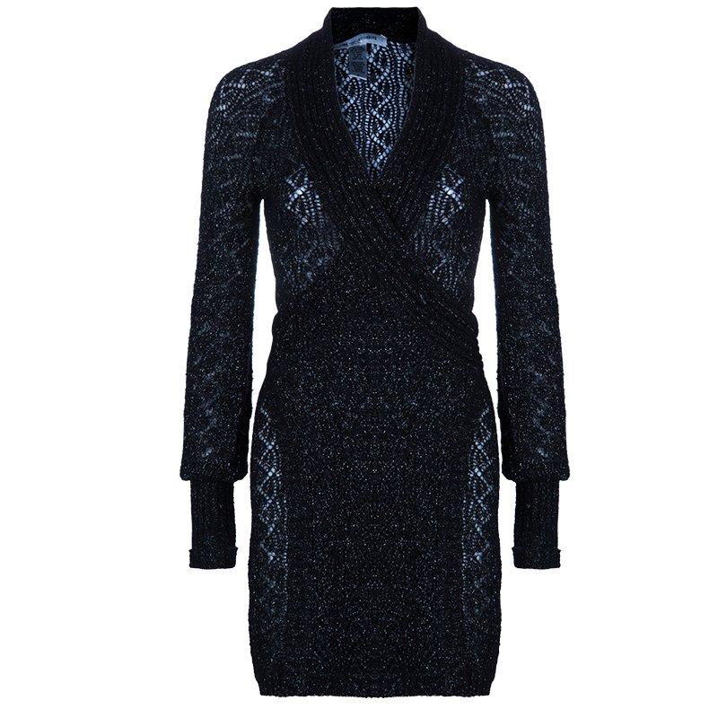 3ed744c5 Diane von Furstenberg Black Glitter Besos Wrap Around Cardigan S