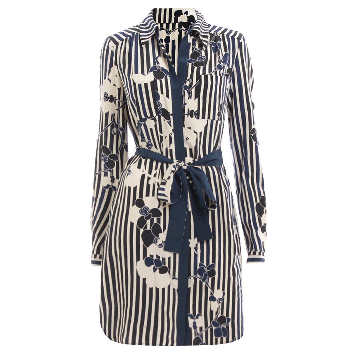 7ab7eebdfbcb08 ... Diane Von Furstenberg Navy Blue Striped Floral Print Shirt Dress S.  nextprev. prevnext