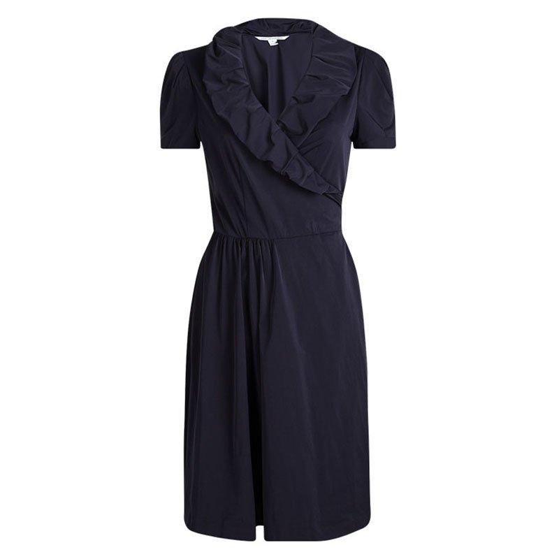 Diane Von Furstenberg Navy Blue Knit Bethania Short Sleeve Wrap Dress M