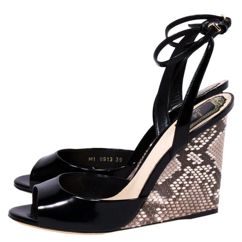 6bd7758c91d773 Buy Dior Black Patent Leather and Python Ankle Strap Wedges Size 39 ...