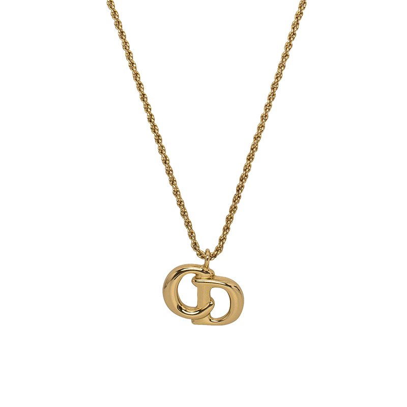 Buy Christian Dior CD Logo Gold Tone Pendant Chain Necklace 64223 at ... ee1460219ae58