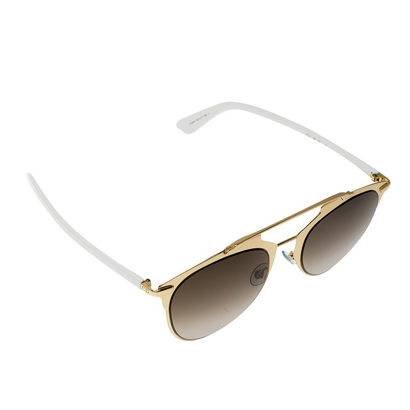 Dior Gold & White Dior Reflected Pantos Sunglasses