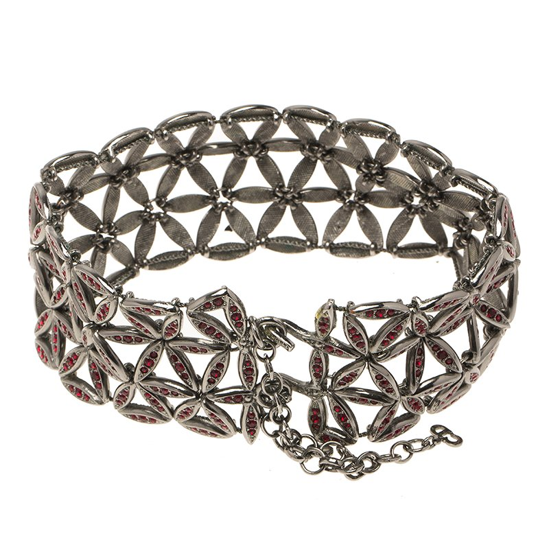 Dior Red Crystals Silver Tone Choker Necklace