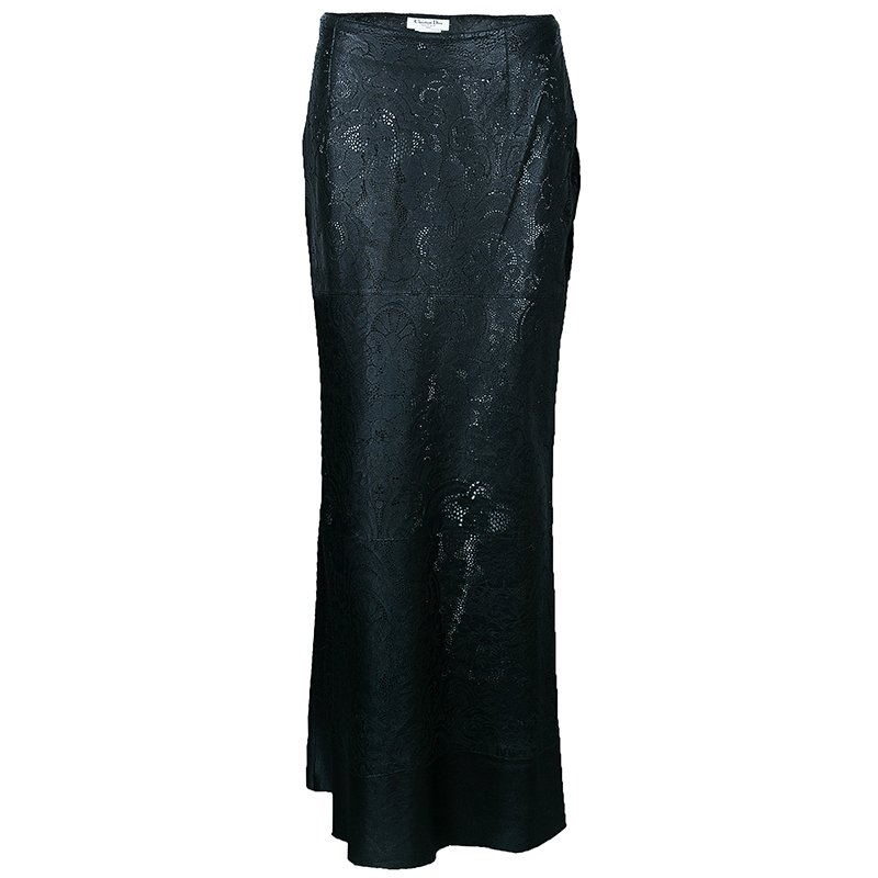Dior Black Leather Laser Cut Skirt M