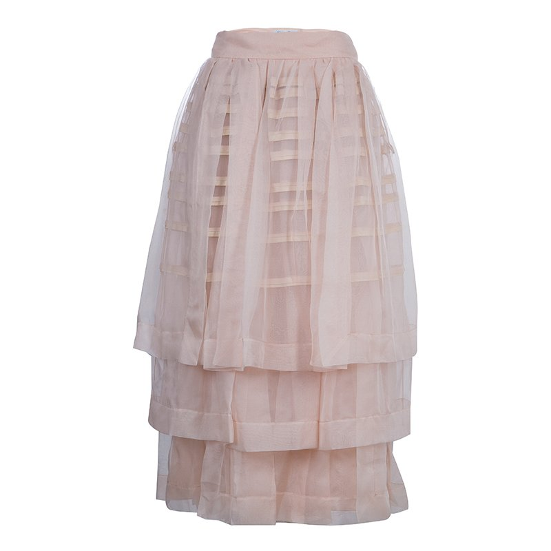Dior Beige Layered Horizontal Pintuck Detail Silk Skirt M