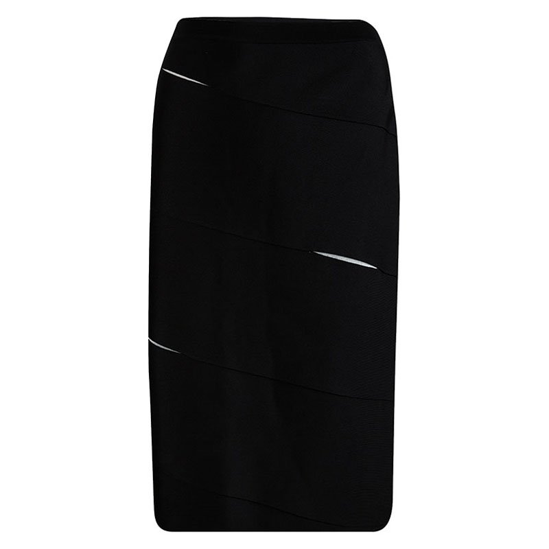 Dior Black Knit Paneled Pencil Skirt M
