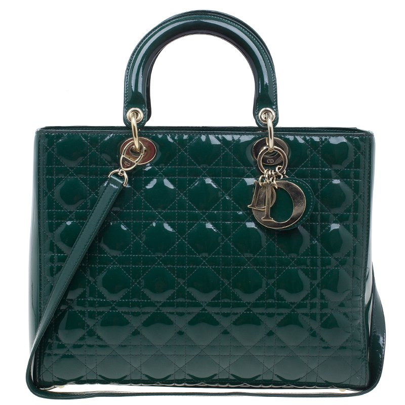 c004cc62ab Dior Green Patent Leather Large Lady Dior Bag