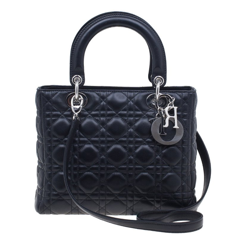 a11c3a88429 Buy Dior Black Quilted Lambskin Medium Lady Dior Cannage Tote Bag ...