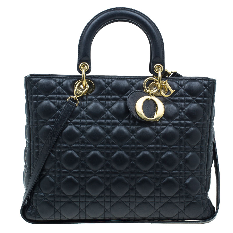 Buy Dior Black Cannage Quilted Lambskin Large Lady Dior Bag 40342 at ... f34f911538a5e