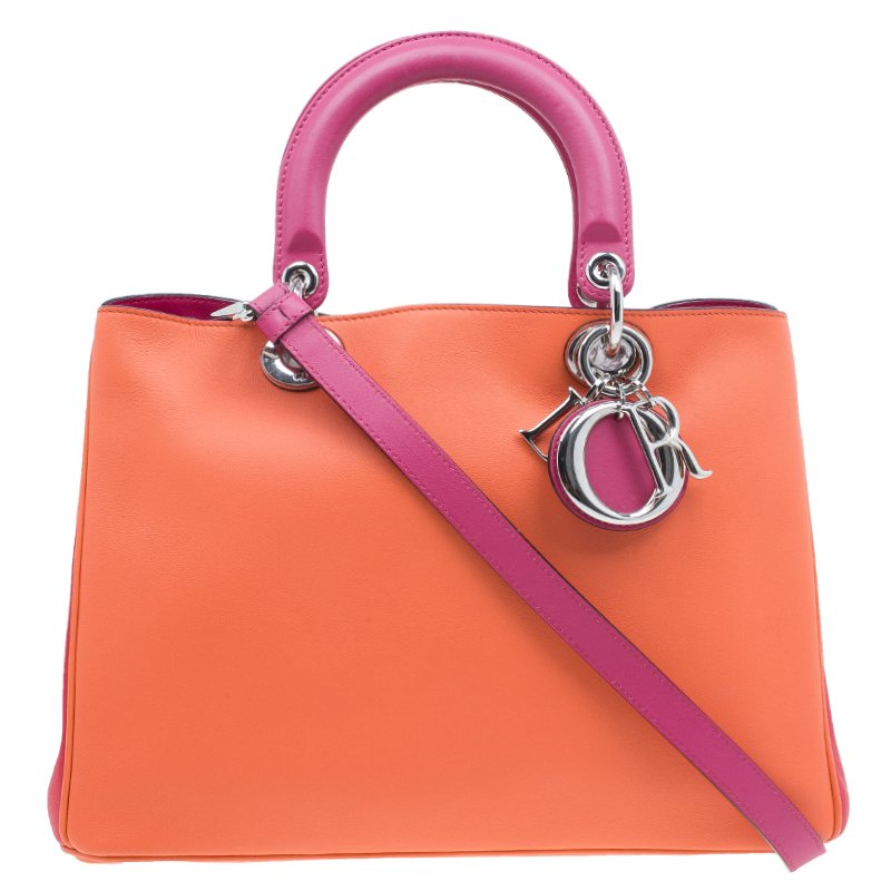 Dior Orange Pink Tricolor Calfskin Leather Medium Diorissimo 8b702a634b2c6