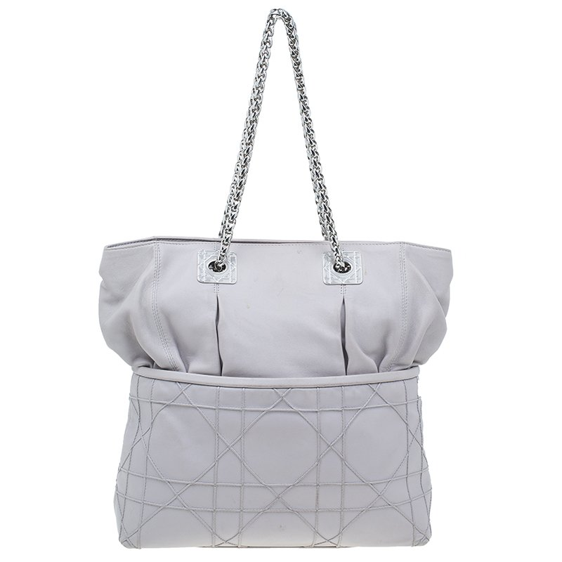 Dior Pale Grey Cannage Quilted Leather