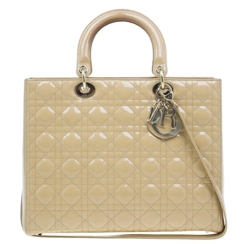 ... Dior Beige Patent Leather Large Lady Dior Tote. nextprev. prevnext d666b0c04fa79